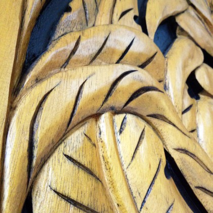 Traditional Malay Wood Carving Heliconia in Frame