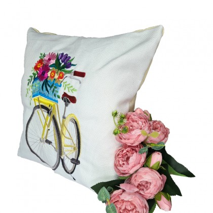 Embroidered Decorative Throw Pillow : Lady Bicycle