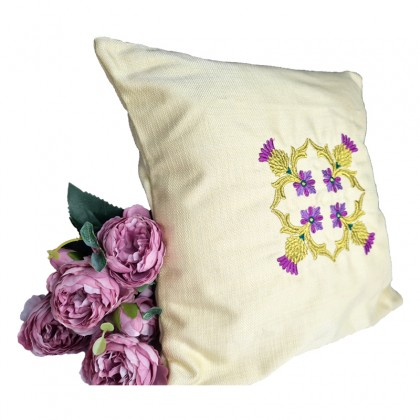 Embroidered Decorative Throw Pillow : Four Corners Motif