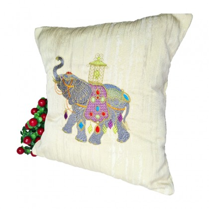 Embroidered Decorative Throw Pillow : Elephant