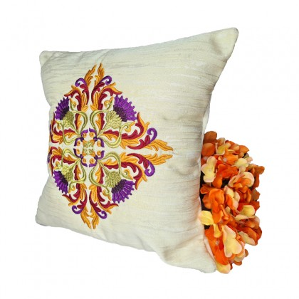 Embroidered Decorative Throw Pillow : Large Motif