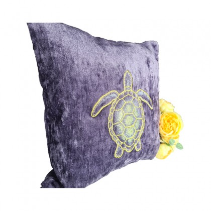 Embroidered Decorative Throw Pillow : Turtle