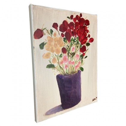 Red Flower In The Vase Painting On Canvas