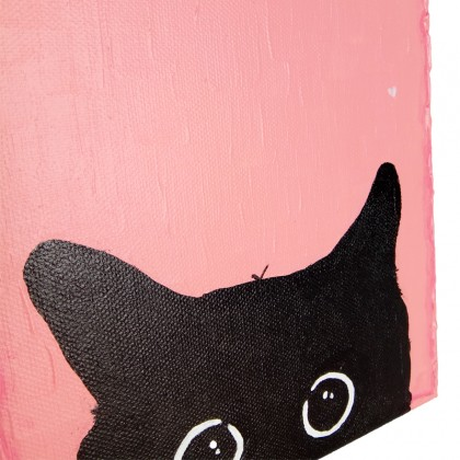 Cat & Pink Wall Painting On Canvas