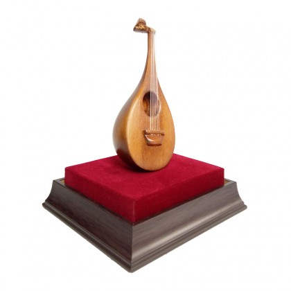 Gambus Replica - Traditional Musical Instrument in Acrylic Display Case
